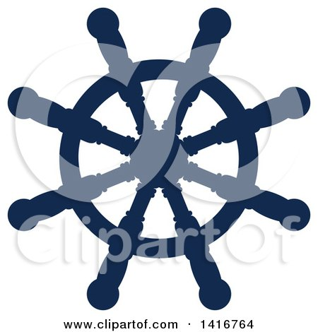 Clipart of a Navy Blue Ships Helm - Royalty Free Vector Illustration by Vector Tradition SM