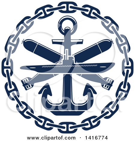 Clipart of a Navy Blue Submarine Torpedo and Nautical Anchor - Royalty Free Vector Illustration by Vector Tradition SM