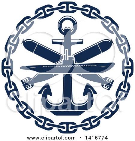 Navy Blue Submarine Torpedo and Nautical Anchor Posters, Art Prints