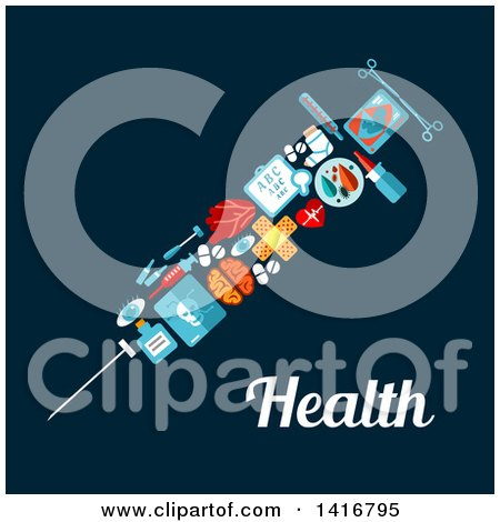 Clipart of a Medical Vaccine Syringe Made of Icons on Blue, with Text - Royalty Free Vector Illustration by Vector Tradition SM