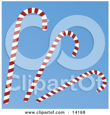 Three Red And White Striped Peppermint Candy Canes On A Blue Background Christmas Clipart Illustration