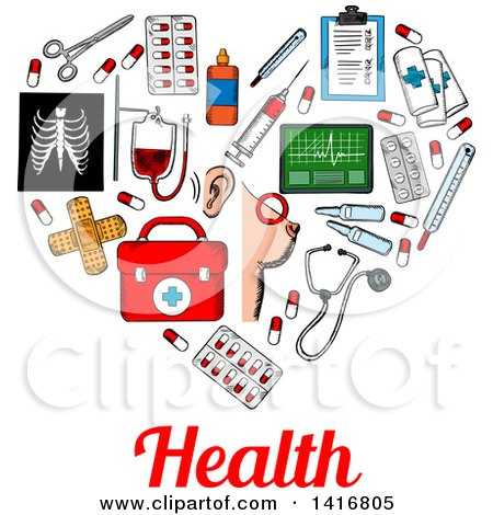 Clipart of a Sketched Heart Formed of Medical Icons with Health Text - Royalty Free Vector Illustration by Vector Tradition SM