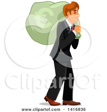 Clipart of a White Business Man Carrying a Euro Money Sack - Royalty Free Vector Illustration by Vector Tradition SM