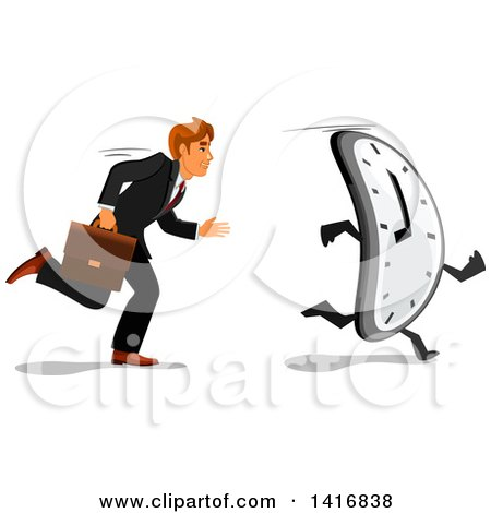 Clipart of a White Business Man Racing a Clock - Royalty Free Vector Illustration by Vector Tradition SM