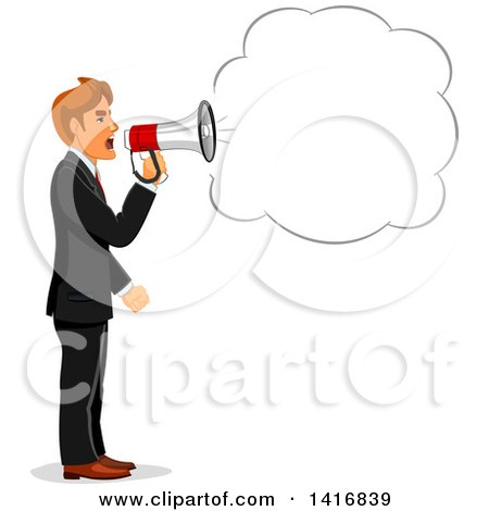 Clipart of a White Business Man Screaming Through a Megaphone - Royalty Free Vector Illustration by Vector Tradition SM