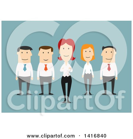 Clipart of a Flat Design Business Team on Blue - Royalty Free Vector Illustration by Vector Tradition SM