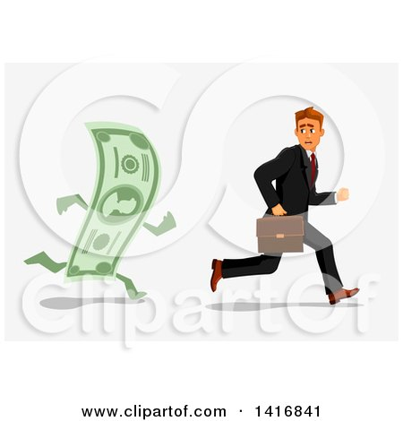 Clipart of a White Business Man Being Chased by a Banknote - Royalty Free Vector Illustration by Vector Tradition SM