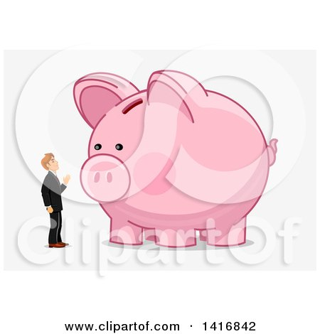 Clipart of a White Business Man Talking to a Piggy Bank - Royalty Free Vector Illustration by Vector Tradition SM