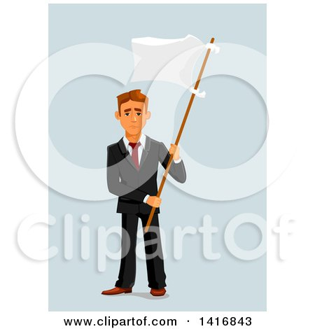 Clipart of a White Business Man Surrendering and Holding up a White Flag - Royalty Free Vector Illustration by Vector Tradition SM