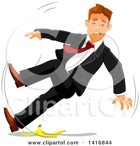 Clipart of a White Business Man Slipping on a Banana Peel - Royalty Free Vector Illustration by Vector Tradition SM