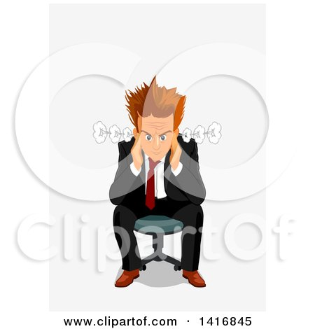 Clipart of a Furious White Business Man Sitting in a Chair - Royalty Free Vector Illustration by Vector Tradition SM