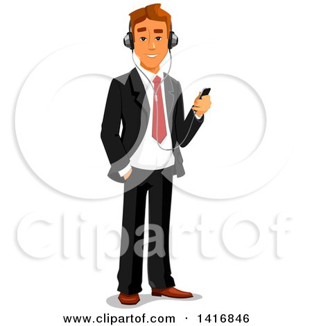 Clipart of a White Business Man Listening to Music on an Mp3 Player - Royalty Free Vector Illustration by Vector Tradition SM