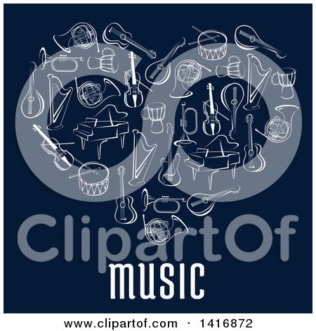 Clipart of a Heart Made of Sketched Musical Instruments and Text on Blue - Royalty Free Vector Illustration by Vector Tradition SM