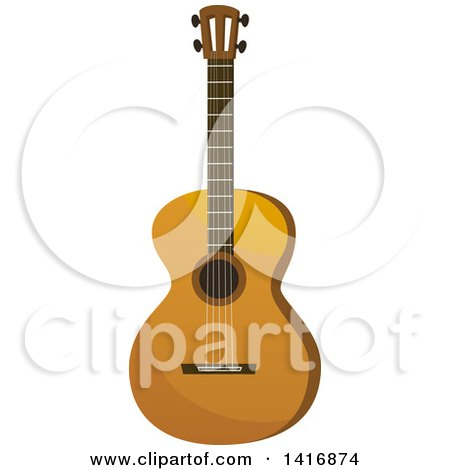 Clipart of a Brown Acoustic Guitar - Royalty Free Vector Illustration by Vector Tradition SM