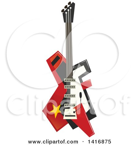 Clipart of an Electric Guitar - Royalty Free Vector Illustration by Vector Tradition SM