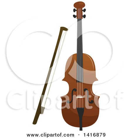 Clipart of a Violin and Bow - Royalty Free Vector Illustration by Vector Tradition SM
