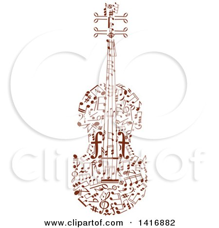 Clipart of a Violin Formed of Brown Music Notes - Royalty Free Vector Illustration by Vector Tradition SM
