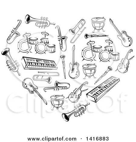 Clipart of a Heart Made of Black Sketched Musical Instruments - Royalty Free Vector Illustration by Vector Tradition SM