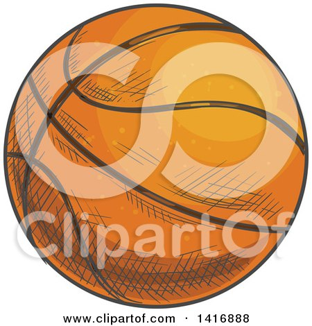 Clipart of a Sketched Basketball - Royalty Free Vector Illustration by Vector Tradition SM