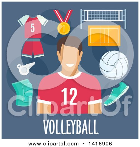 Clipart of a Flat Design Man Avatar with Volleyball Icons - Royalty Free Vector Illustration by Vector Tradition SM