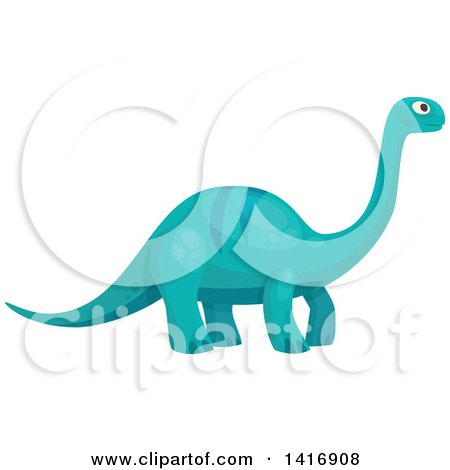 Clipart of a Blue Brontosaurus Apatosaurus Dinosaur - Royalty Free Vector Illustration by Vector Tradition SM