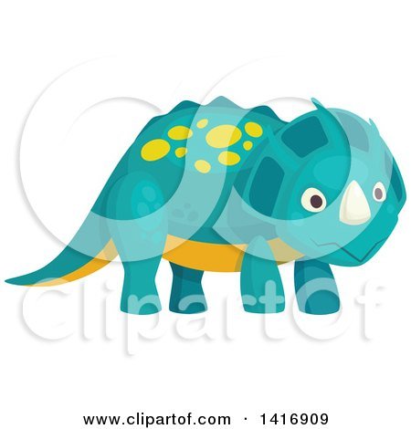 Clipart of a Cute Triceratops Dinosaur - Royalty Free Vector Illustration by Vector Tradition SM