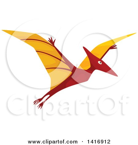 Clipart of a Flying Pterodactyl Dinosaur - Royalty Free Vector Illustration by Vector Tradition SM