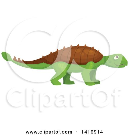 Clipart of a Green Ankylosaurus Dinosaur - Royalty Free Vector Illustration by Vector Tradition SM