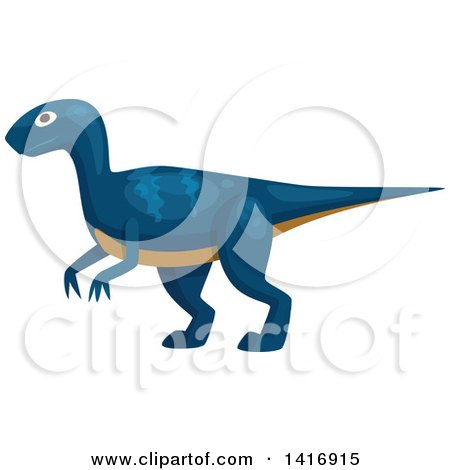Clipart of a Blue Raptor Dinosaur - Royalty Free Vector Illustration by Vector Tradition SM