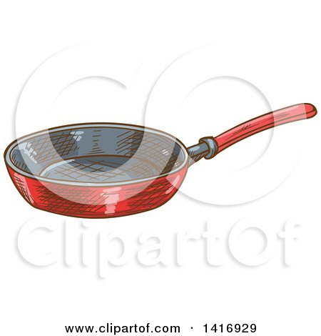 Clipart of a Sketched Frying Pan - Royalty Free Vector Illustration by Vector Tradition SM