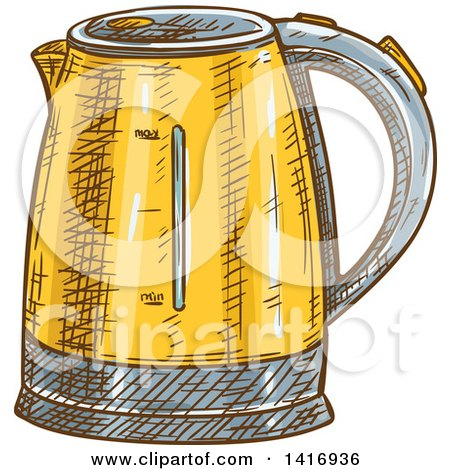 Clipart of a Sketched Coffee Percolator - Royalty Free Vector Illustration by Vector Tradition SM