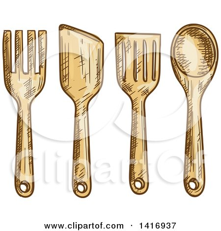 Clipart of Sketched Kitchen Utensils - Royalty Free Vector Illustration by Vector Tradition SM