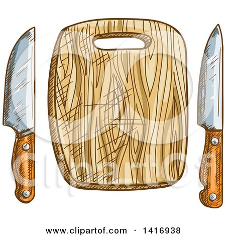 Clipart of a Sketched Cutting Board and Knives - Royalty Free Vector Illustration by Vector Tradition SM