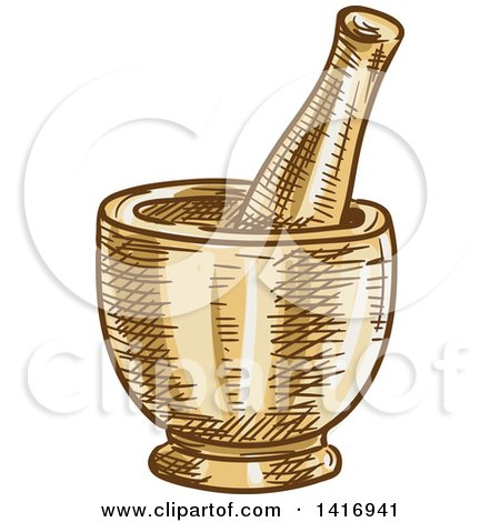 Clipart of a Sketched Mortar and Pestle - Royalty Free Vector Illustration by Vector Tradition SM