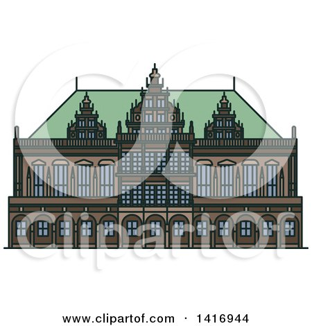 Clipart of a Sketched German Landmark, Bremen Town Hall - Royalty Free Vector Illustration by Vector Tradition SM