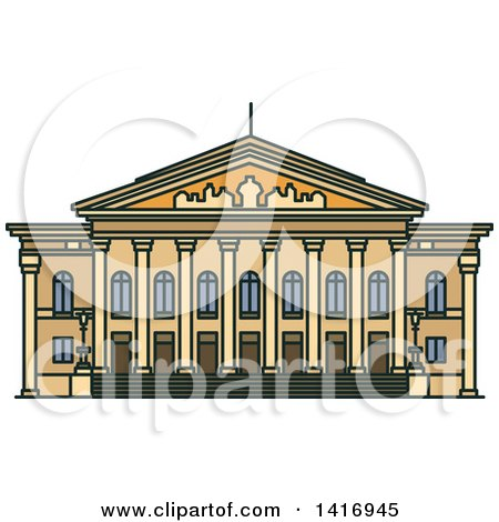 Clipart of a Sketched German Landmark, National Theatre - Royalty Free Vector Illustration by Vector Tradition SM