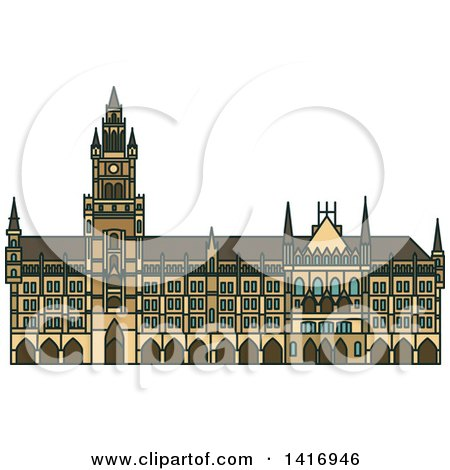 Clipart of a Sketched German Landmark, New Town Hall - Royalty Free Vector Illustration by Vector Tradition SM