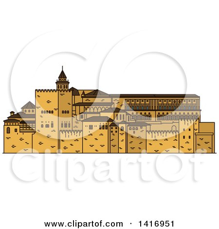 Clipart of a Sketched Spain Landmark, Alhambra - Royalty Free Vector Illustration by Vector Tradition SM