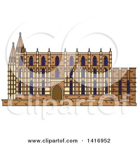 Clipart of a Sketched Spain Landmark, Cathedral of Santa Maria in Palma - Royalty Free Vector Illustration by Vector Tradition SM