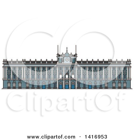 Clipart of a Sketched Spain Landmark, Royal Palace in Madrid - Royalty Free Vector Illustration by Vector Tradition SM
