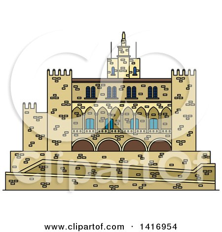 Clipart of a Sketched Spain Landmark, Royal Palace of La Almudaina in Palma - Royalty Free Vector Illustration by Vector Tradition SM