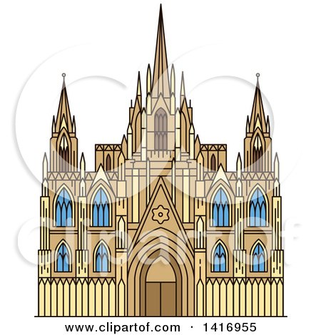 Clipart of a Sketched Spain Landmark, Barcelona Cathedral - Royalty Free Vector Illustration by Vector Tradition SM