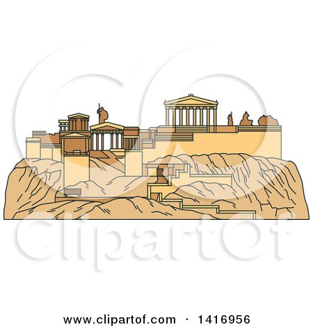Clipart of a Sketched Ancient Greek Landmark, Acropolis of Athens| Royalty Free Vector Illustration by Vector Tradition SM