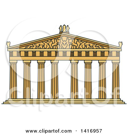 Clipart of a Sketched Ancient Greek Landmark, Temple of Goddess Athena Parthenon - Royalty Free Vector Illustration by Vector Tradition SM