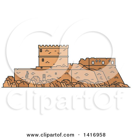 Clipart of a Sketched Ancient Greek Landmark, Castle of the Knights of Rhodes - Royalty Free Vector Illustration by Vector Tradition SM
