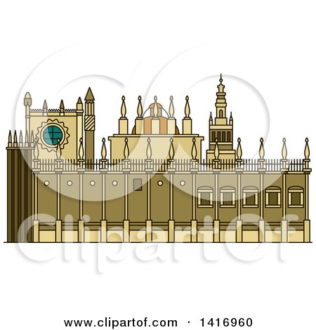 Clipart of a Sketched Spanish Landmark, Cathedral of Saint Mary of the See - Royalty Free Vector Illustration by Vector Tradition SM