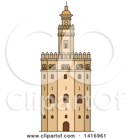 Clipart of a Sketched Spanish Landmark, Gold Tower in Seville - Royalty Free Vector Illustration by Vector Tradition SM