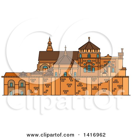Clipart of a Sketched Spanish Landmark, Great Cathedral of Cordoba - Royalty Free Vector Illustration by Vector Tradition SM