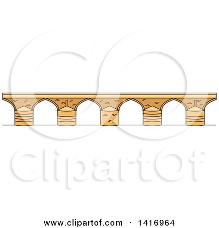 Clipart of a Sketched Spanish Landmark, Roman Bridge - Royalty Free Vector Illustration by Vector Tradition SM