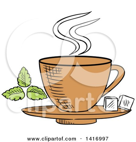 Clipart of a Sketched Tea Cup and Sugar Cubes - Royalty Free Vector Illustration by Vector Tradition SM